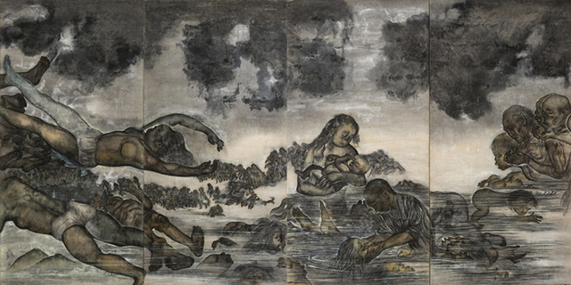 丸木位里・俊《原爆の図 第3部 水》(再制作版・部分)1950−51年(後年に加筆) 広島市現代美術館蔵 :「丸木位里・俊 ―《原爆の図》をよむ」広島市現代美術館