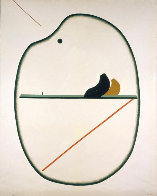 勝呂忠《楕円の景》1982 年 _ 油彩・キャンバス:「5感+1つの感性 絵を見ておしゃべりしよう!」平塚市美術館