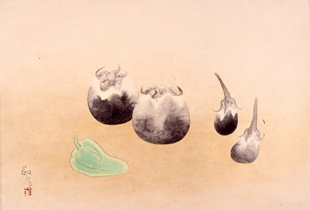 安田靫彦《新蔬》1940 年 _ 彩色・紙:「5感+1つの感性 絵を見ておしゃべりしよう!」平塚市美術館