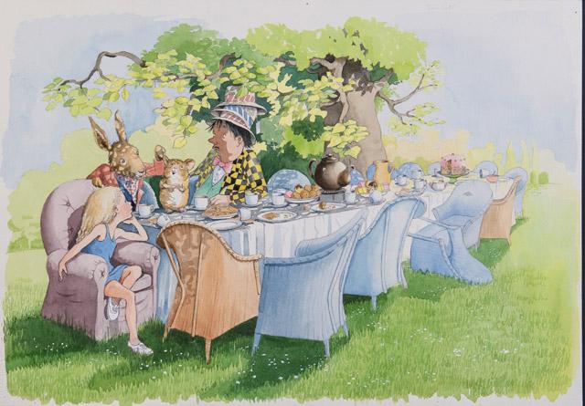 ヘレン・オクセンバリー 「『不思議の国のアリス』第7章より 《へんなお茶会》」©Helen Oxenbury:「不思議の国のアリス展」神戸展 兵庫県立美術館