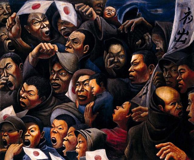 阿部合成《見送る人々》1938 年 兵庫県立美術館:「Oh !マツリ☆ゴト 昭和・平成のヒーロー & ピーポー」兵庫県立美術館