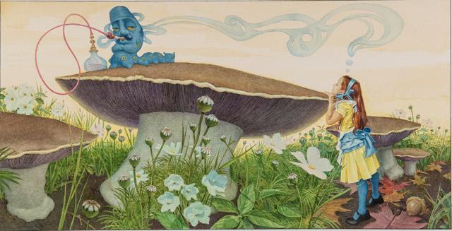 チャールズ・サントーレ 「『不思議の国のアリス』第5章より 《イモ虫からの忠告》」©Charles Santore:「不思議の国のアリス展」神戸展 兵庫県立美術館