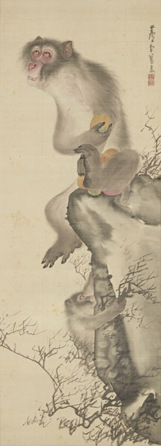 長沢蘆雪 猿猴弄柿図(後期展示):「春の江戸絵画まつり へそまがり日本美術 禅画からヘタウマまで」府中市美術館