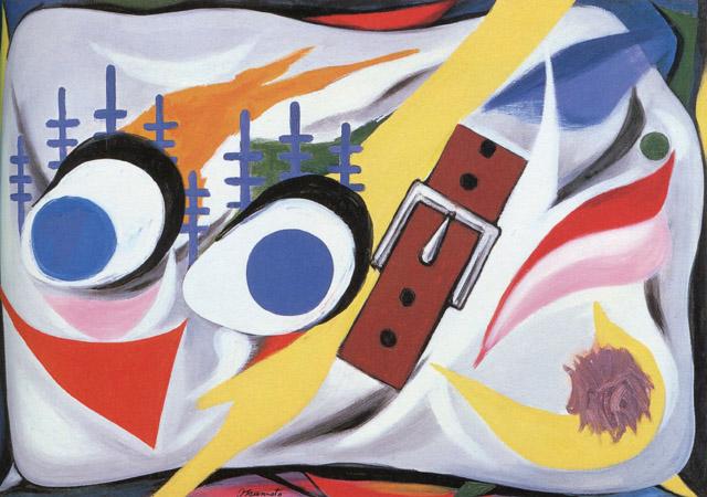 岡本太郎《⽝》1954年川崎市岡本太郎美術館蔵:「岡本太郎と『今⽇の芸術』 絵はすべての⼈の創るもの」アーツ前橋