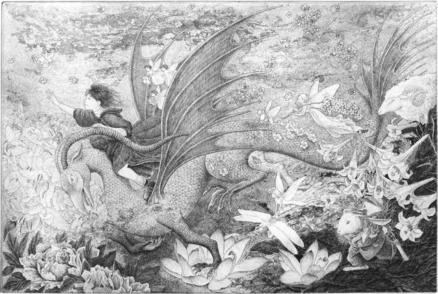 長野順子《果て無き世界へ》2016年、エッチング・紙:「アナザー・ストーリー /人の数だけ、物語がある。」高崎市美術館