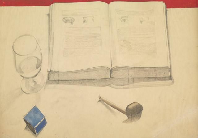 シャルル=エドゥアール・ジャンヌレ(ル・コルビュジエ)《開いた本、パイプ、グラス、マッチ箱のある静物》 1918年頃 鉛筆・グアッシュ、紙 37.5×53.5cm パリ、ル・コルビュジエ財団  ©FLC/ADAGP, Paris & JASPAR, Tokyo, 2018 B0365