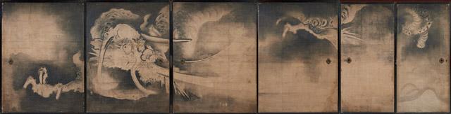 海北友雪 雲竜図襖:「春の江戸絵画まつり へそまがり日本美術 禅画からヘタウマまで」府中市美術館
