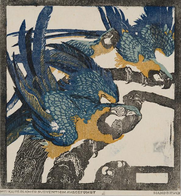 ルートビィヒ・ハインリヒ・ユンクニッケル《三羽の青い鸚鵡》(連作「シェーンブルンの動物たち」より)1909年頃 京都国立近代美術館:「世紀末ウィーンのグラフィック デザインそして生活の刷新にむけて」京都国立近代美術館