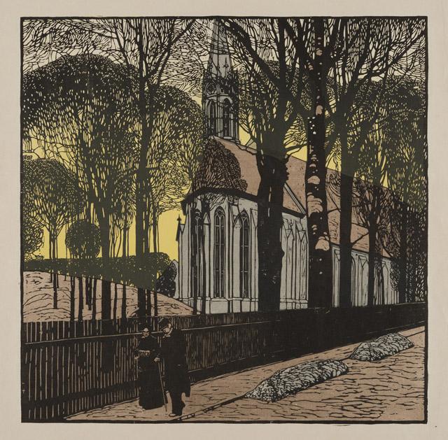 カール・モル《ハイリゲンシュタットの聖ミヒャエル教会》1903年 京都国立近代美術館:「世紀末ウィーンのグラフィック デザインそして生活の刷新にむけて」京都国立近代美術館
