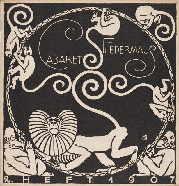表紙:モーリツ・ユンク、装丁:カール・オットー・チェシュカ『キャバレー〈フレーダーマウス〉上演本』第2号 1907年 京都国立近代美術館:「世紀末ウィーンのグラフィック デザインそして生活の刷新にむけて」京都国立近代美術館