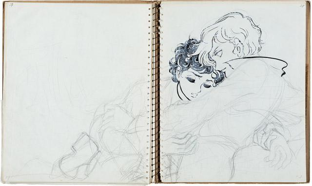 『風と木の詩』クロッキーノート (C)竹宮惠子:「竹宮惠子 カレイドスコープ 50th Anniversary」川崎市市民ミュージアム