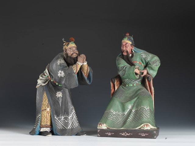 関羽・張飛像 土、彩色 清時代・19世紀 天津博物館蔵