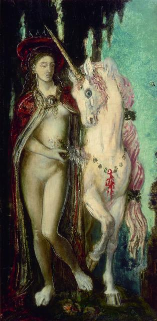 《一角獣》 1885年頃 油彩/カンヴァス 78×40cm ギュスターヴ・モロー美術館蔵 Photo©RMN-Grand Palais / Christian Jean / distributed by AMF