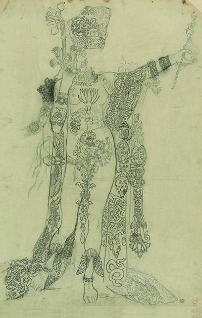《踊るサロメ(刺青のサロメ)のための習作》 インク・鉛筆/紙 54.5×37.4cm ギュスターヴ・モロー美術館蔵 Photo©RMN-Grand Palais / René-Gabriel Ojéda / distributed by AMF