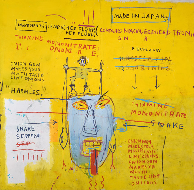 ジャン=ミシェル・バスキア Onion Gum, 1983 Acrylic and oilstick on canvas 177.8 x 203.2 x 5 cm Courtesy Van de Weghe Fine Art, New York Photo: Camerarts, New York Artwork © Estate of Jean-Michel Basquiat. Licensed by Artestar, New York