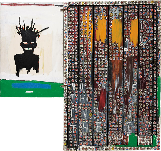 ジャン=ミシェル・バスキア Self-Portrait, 1985 Acrylic, oilstick, crown cork and bottle caps on wood 141.9 x 153 x 14.9 cm Private Collection Photo: Max Yawney Artwork © Estate of Jean-Michel Basquiat. Licensed by Artestar, New York