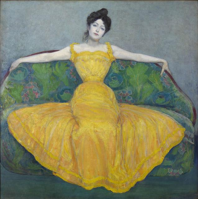 マクシミリアン・クルツヴァイル《黄色いドレスの女性(画家の妻)》1899年 油彩/合板 171.5 x 171.5 cmウィーン・ミュージアム蔵©Wien Museum / Foto Peter Kainz