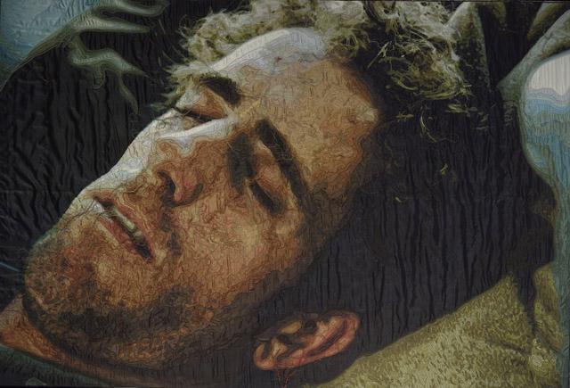 Ramazan Bayrakoğlu, Sleeping Man, 2010, embroidery on fabric. Photo by Ozan Çakmak