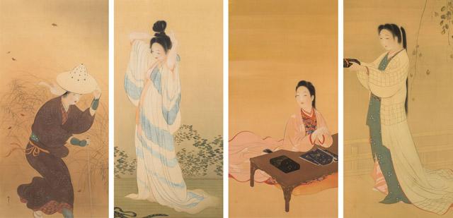 木島櫻谷《婦女図屏風》