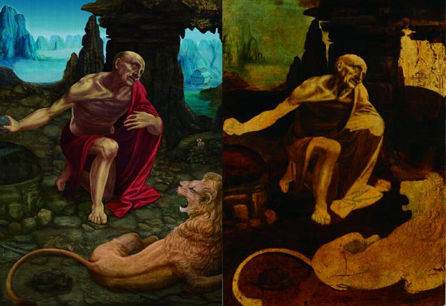 <聖ヒエロニムス> 復元中(左)・現状(右)