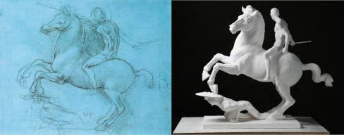 <スフォルツァ騎馬像> ダ・ヴィンチのスケッチ(左)・復元中(右)