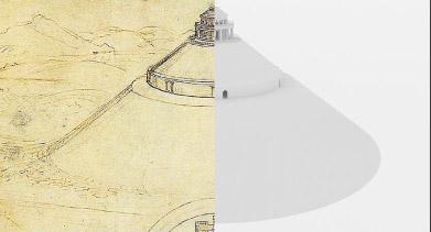 <大墳墓計画> ダ・ヴィンチのスケッチ(左)・CG再現中(右)