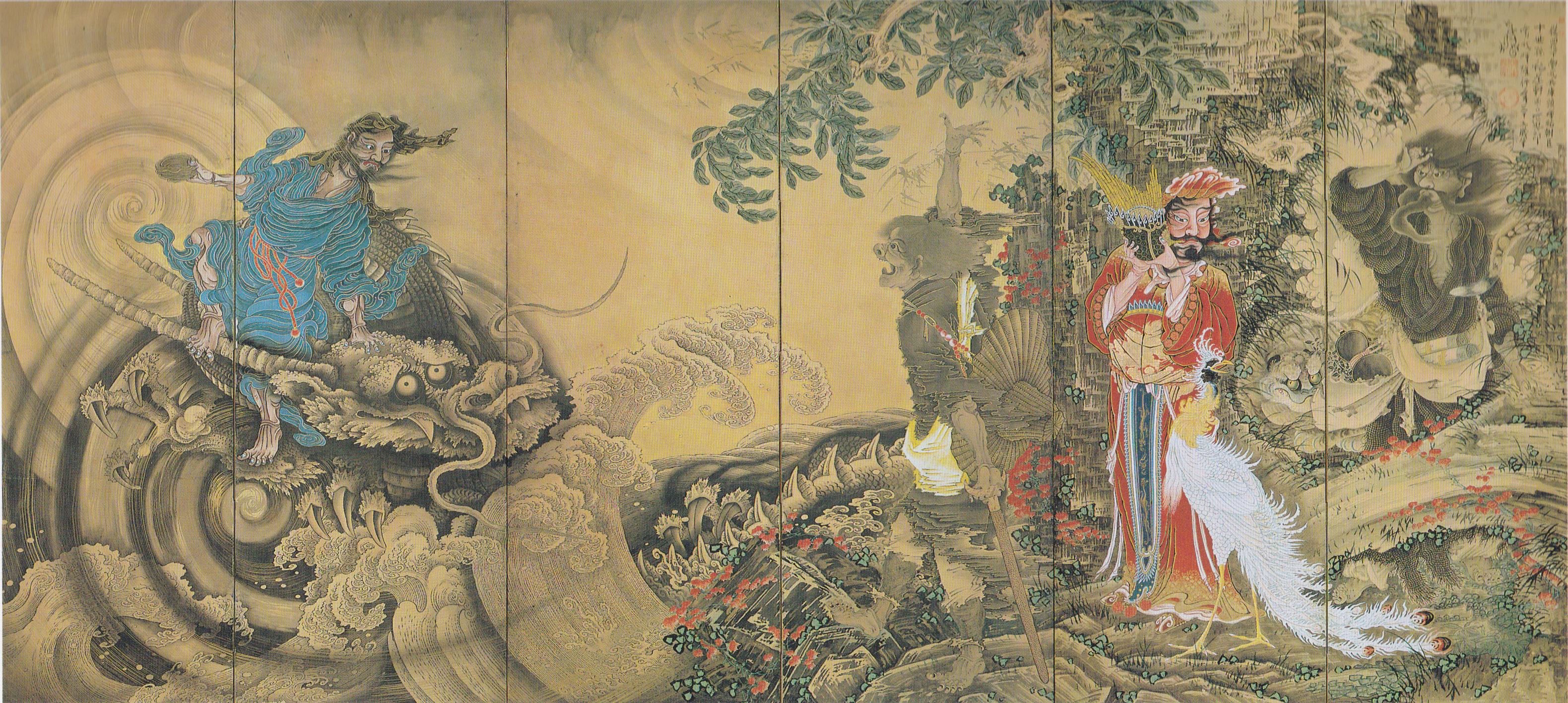 曾我蕭白《群仙図屏風》(右隻) 1764年 文化庁蔵 重要文化財