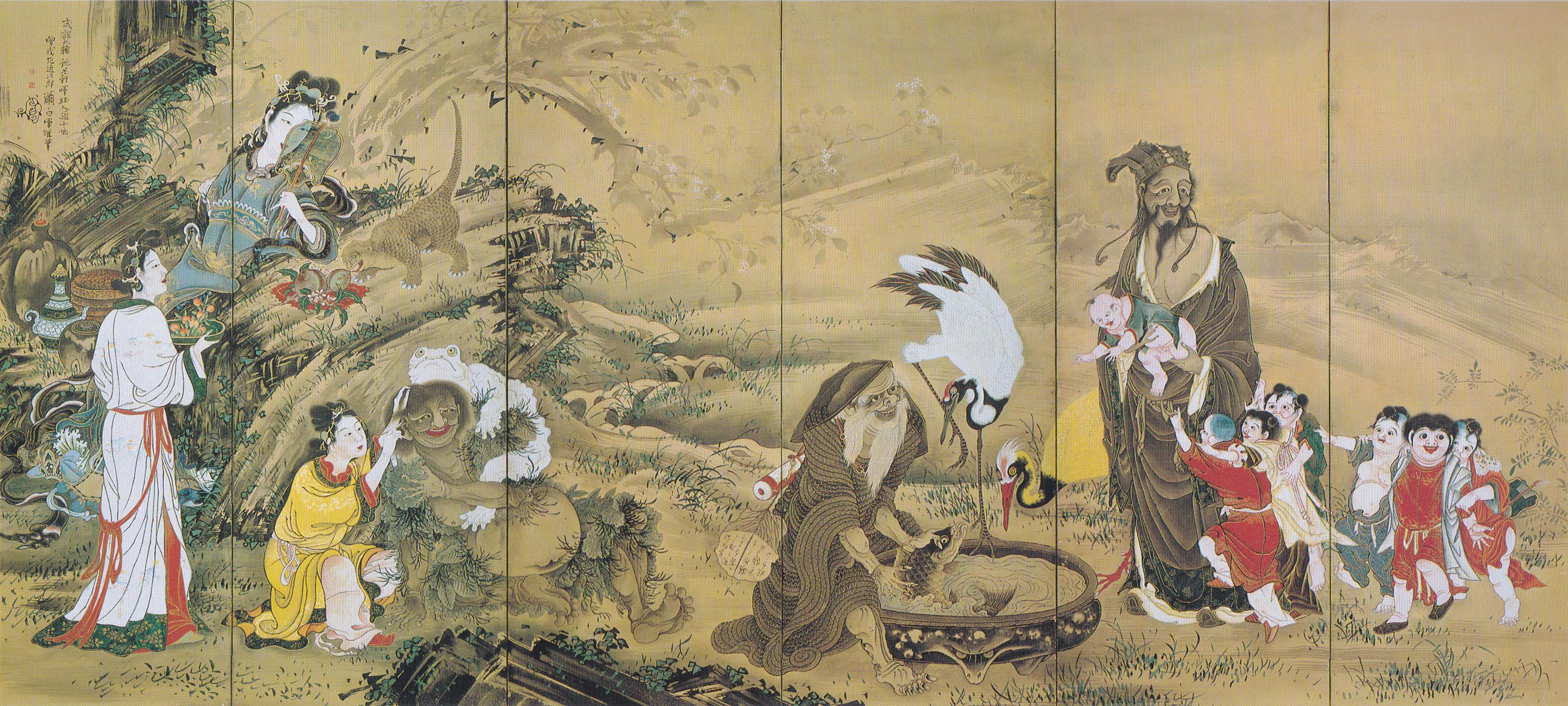 曾我蕭白《群仙図屏風》(左隻) 1764年 文化庁蔵 重要文化財