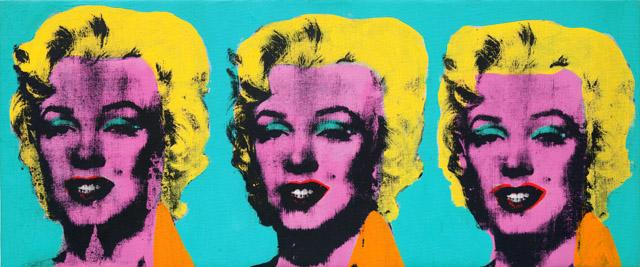 アンディ・ウォーホル 《三つのマリリン》  1962年 アンディ・ウォーホル美術館蔵<br>© The Andy Warhol Foundation for the Visual Arts, Inc. / Artists Rights Society (ARS), New York  麻にアクリル、シルクスクリーン・インク、鉛筆 35.6 x 85.1cm