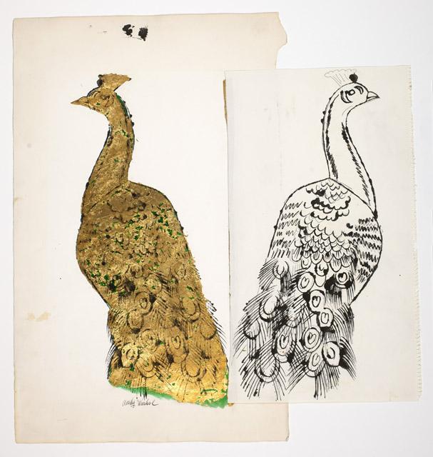 アンディ・ウォーホル 《孔雀》  1957年頃 アンディ・ウォーホル美術館蔵<br>© The Andy Warhol Foundation for the Visual Arts, Inc. / Artists Rights Society (ARS), New York  ストラスモア紙に金箔、水彩、インク 45.4 x 25.7cm