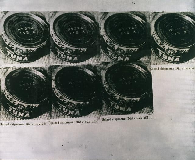 アンディ・ウォーホル 《ツナ缶の惨事》  1963年 アンディ・ウォーホル美術館蔵<br>© The Andy Warhol Foundation for the Visual Arts, Inc. / Artists Rights Society (ARS), New York  麻にシルクスクリーン・インク、シルバー塗料 173.4 x 210.8cm