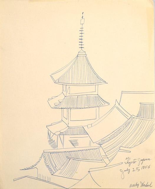 アンディ・ウォーホル 《京都(清水寺)1956年7月25日》  1956年 アンディ・ウォーホル美術館蔵<br>© The Andy Warhol Foundation for the Visual Arts, Inc. / Artists Rights Society (ARS), New York  マニラ紙にボールペン 43.2 x 35.6cm