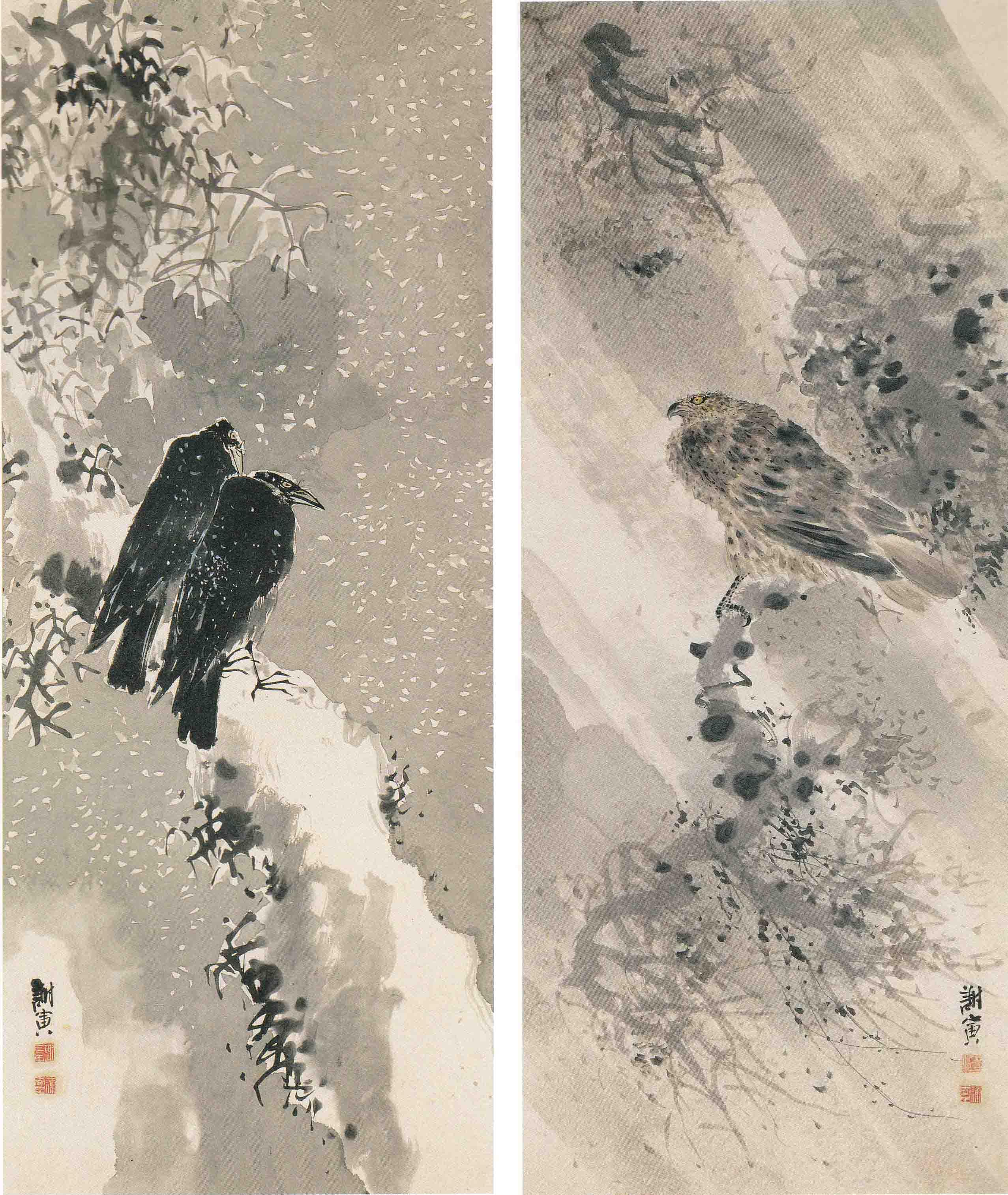 与謝蕪村《鳶・鴉図》 江戸期 北村美術館蔵 重要文化財